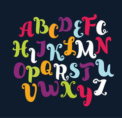 Hand drawn alphabet. Vector alphabet different colors. Uppercase letters.