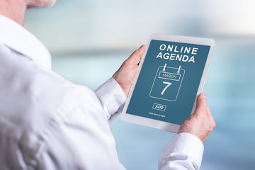 Online agenda concept on a tablet