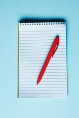 Top view image of open notebook with blank pages and red pen on light blue desk background with copy space for text. Business or education concept.