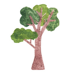 Watercolor tree with green leaf isolated on white background