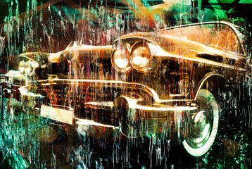 Vintage car. painted style