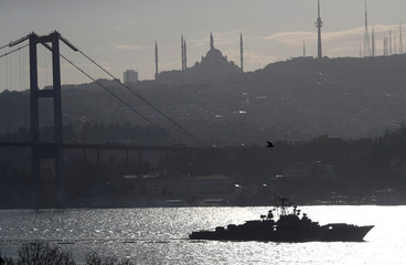 The Russian Navy's frigate Pytlivy sails in the Bosphorus, on its way to the Mediterranean Sea, in Istanbul