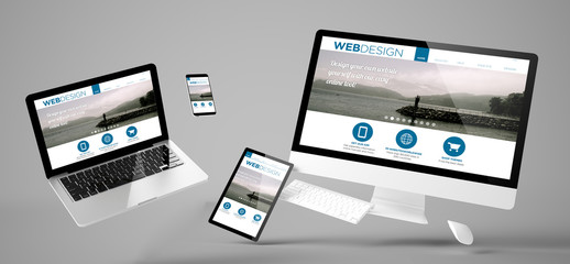 Wall Mural - flying devices web design responsive website