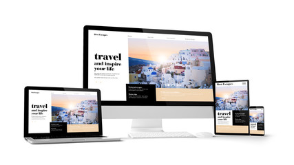 computer gadgets with travel website space on screen