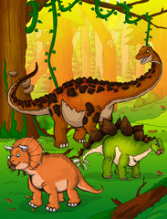 Titanosaur, Stegosaurus and Triceratops on the background of forest