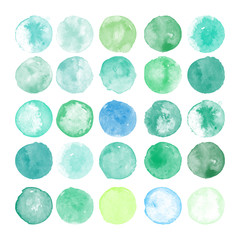 Set of watercolor shapes. Watercolors blobs. Set of colorful watercolor hand painted circle isolated on white. Illustration for artistic design. Round stains, blobs of green, blue colors
