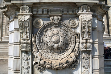 ISTANBUL, TURKEY - MARCH 25, 2012: Decorative stucco of Dolmabahce Palace.