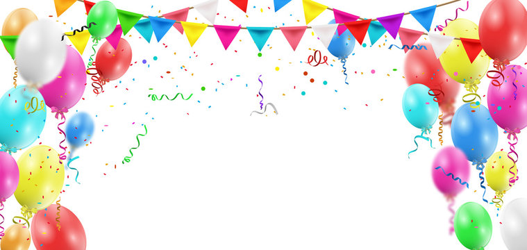 Balloons header background. Party card with colourful balloons. Balloon background.