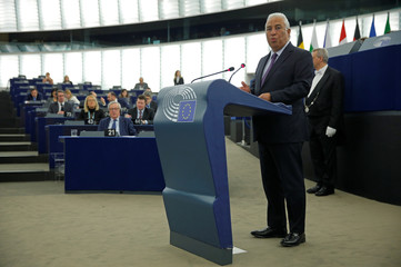 Portugal's Prime Minister Costa delivers a speech during a debate on the Future of Europe at the European Parliament in Strasbourg
