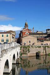 Rimini old town and Tiberius bridge Italy