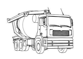 sketch of concrete mixer vector