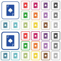 Jack of spades card outlined flat color icons