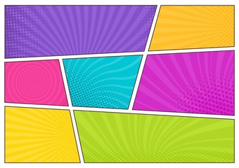 Acrylic Prints Pop Art Blank bright colored background templates, decorative backdrops with dotted texture or boxes with dots and rays for comic strip or cartoon story. Modern vector illustration in pop art style.