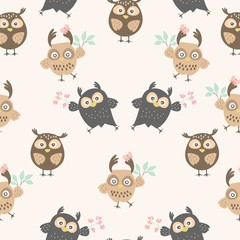 Seamless pattern with owls. Cute ornament with owls for textiles. packaging, Wallpaper, covers.