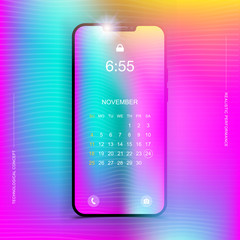 Template realistic smartphone in a vertical format with a gradient and screen lock on a colour background. Phone with set of web icons and calendar with gradient background.