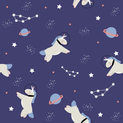 Seamless pattern with unicorn in open space. Vector hand drawn illustration.
