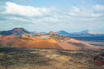 Volcanic landscape of Timanfaya National Park in Lanzarote, Canary Islands, Spain