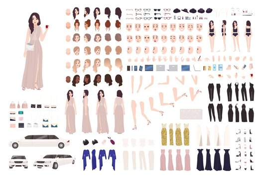 Elegant woman dressed evening prom clothing creation set or DIY kit. Collection of body parts, facial expressions, postures. Female cartoon character. Front, side, back views. Vector illustration.
