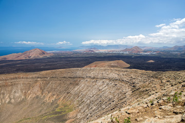 Crater of Caldera Blanca, old volcano in Lanzarote, Canary islands, Spain