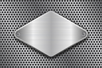 Rhombus brushed metal plate on perforated texture. With rivets