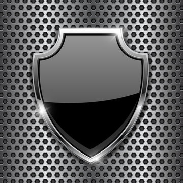 Metal 3d black shield on metal perforated background