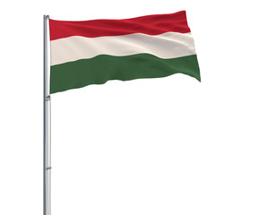 Isolate flag of Hungary on a flagpole fluttering in the wind on a white background, 3d rendering.