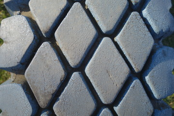 Painted car tire close-up texture background