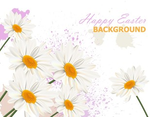 Happy Easter card with chamomile flowers background Vector illustrations