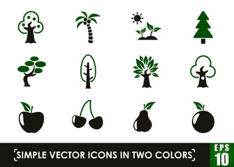trees simple vector icons in two colors