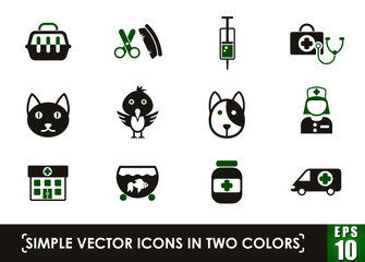veterinary clinic simple vector icons in two colors