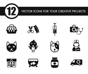 veterinary clinic vector icons for your creative ideas