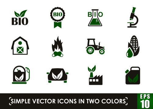 bio fuel simple vector icons in two colors