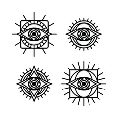 one eye sign symbol logo logotype collection