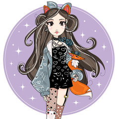 Cute fashion foxy girl cartoon character with little fox, hand drawn vector illustration