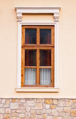 Classic wooden window white colored ornament