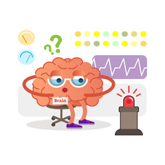 Conceptual brain cartoon character monitoring and receiving signals. Health care and medicine.