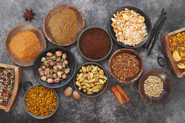 Overhead view of Indian spices and seasonings in bowls