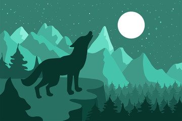Wolf in the night coniferous forest near the mountains under moon