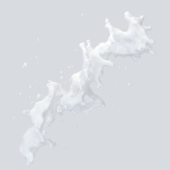 Milk splash with droplets isolated. 3D illustration