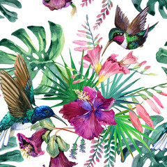 Watercolor tropical seamless pattern
