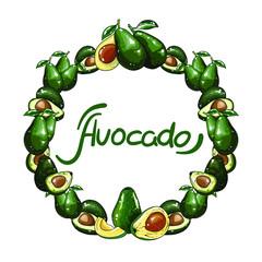 Vector round set of green avocado. Illustration isolated on white background.