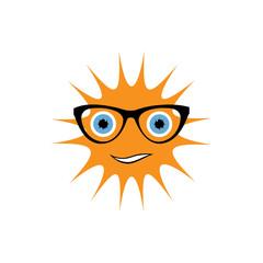 sun with black glasses art vector illustration