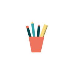 pencil case with school supplies