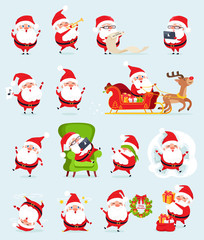 Santa Claus Icons Collection Vector Illustration