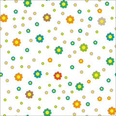 Colorful vector seamless minimalistic cute flower print