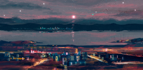 Colorful night city with river, digital painting