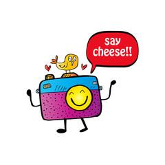 Say cheese text balloon with cute cartoon camera