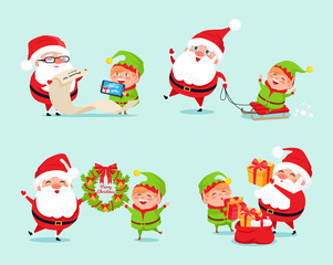 Santa Having Fun with Elf Icon Vector Illustration
