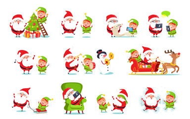 Santa Claus Activities Set Vector Illustration