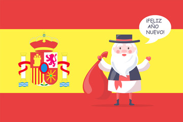 Spanish Santa Claus in National Costume with Bag